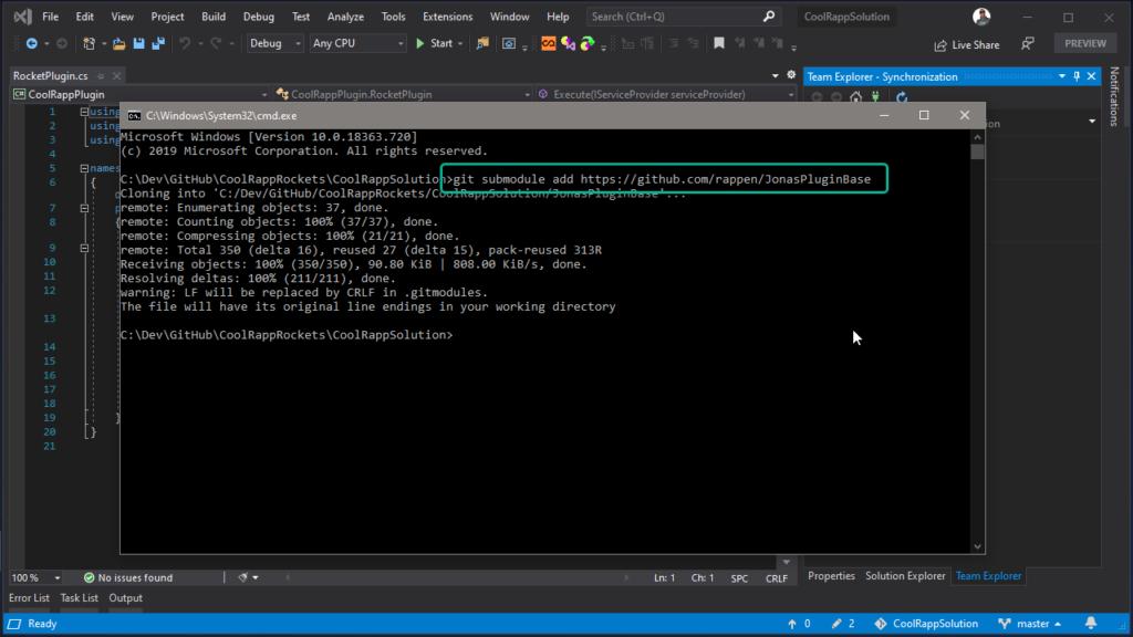 Git Submodules in Visual Studio - adding a git submodule