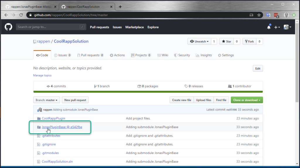 Git Submodules in Visual Studio - submodule reference on GitHub