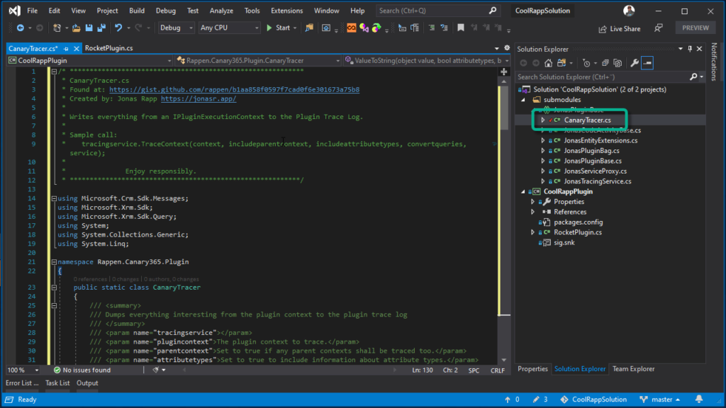 Git Submodules in Visual Studio - the Canary Tracer for Microsoft Dynamics 365