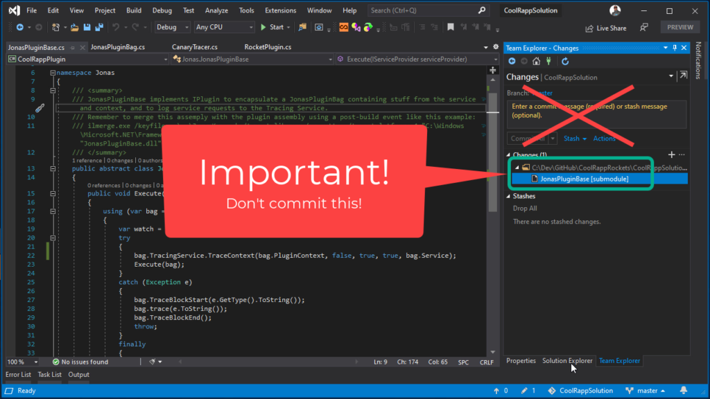 Git Submodules in Visual Studio - Don't commit submodule changes from your repository