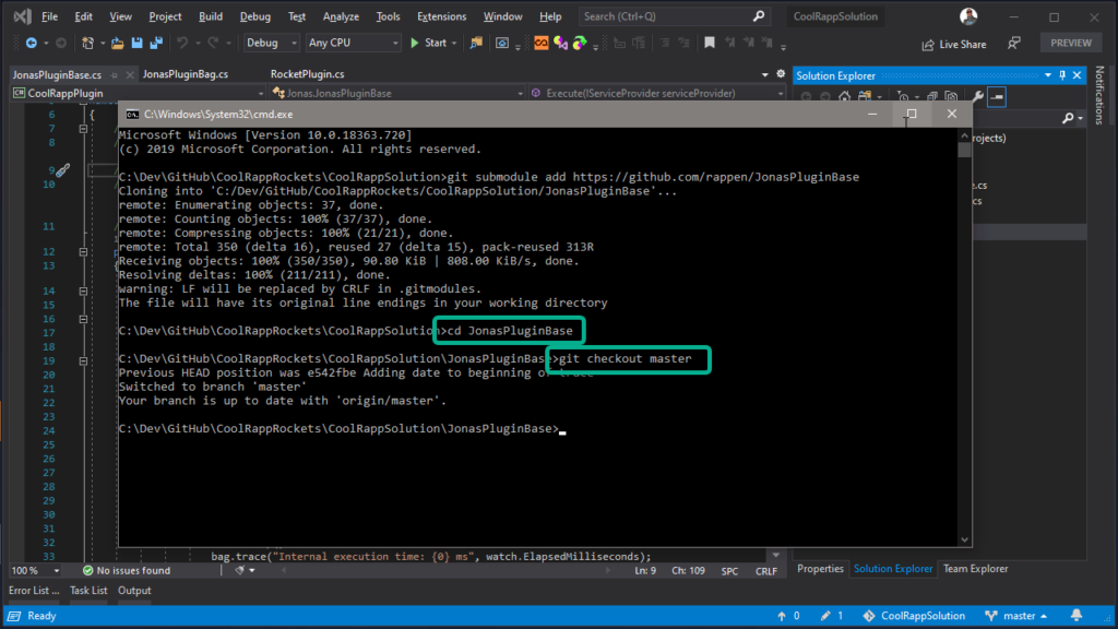 Git Submodules in Visual Studio - update to use latest version of submodule repository