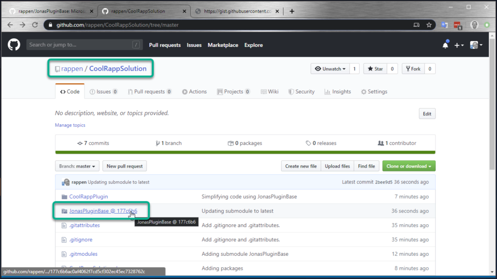 Git Submodules in Visual Studio - tracking submodule changes on GitHub